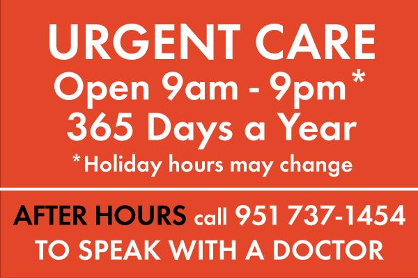 Citrus Valley – Urgent Care Hours